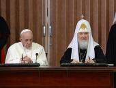 Завершилась встреча Святейшего Патриарха Кирилла с Папой Римским Франциском