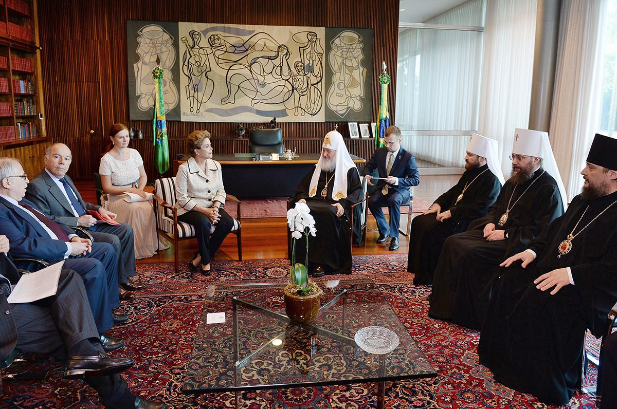 Визит Святейшего Патриарха Кирилла в Латинскую Америку. Встреча с Президентом Бразилии Дилмой Русеф