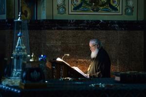 В понедельник первой седмицы Великого поста Святейший Патриарх Кирилл молился за уставным богослужением в Николо-Угрешском ставропигиальном монастыре
