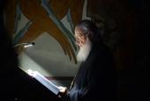 В четверг первой седмицы Великого поста Святейший Патриарх Кирилл молился за уставным богослужением в Донском ставропигиальном монастыре