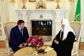 Святейший Патриарх Кирилл и губернатор Волгоградской области А.И.Бочаров обсудили план строительства кафедрального собора в Волгограде