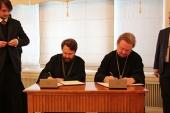 Подписано соглашение о сотрудничестве между Общецерковной аспирантурой и Синодальным отделом по делам молодежи