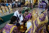 В Великий Четверг Предстоятель Русской Церкви совершил Литургию и чин умовения ног в Храме Христа Спасителя