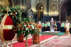 В день праздника Светлого Христова Воскресения Святейший Патриарх Кирилл совершил Пасхальную великую вечерню в Храме Христа Спасителя в Москве