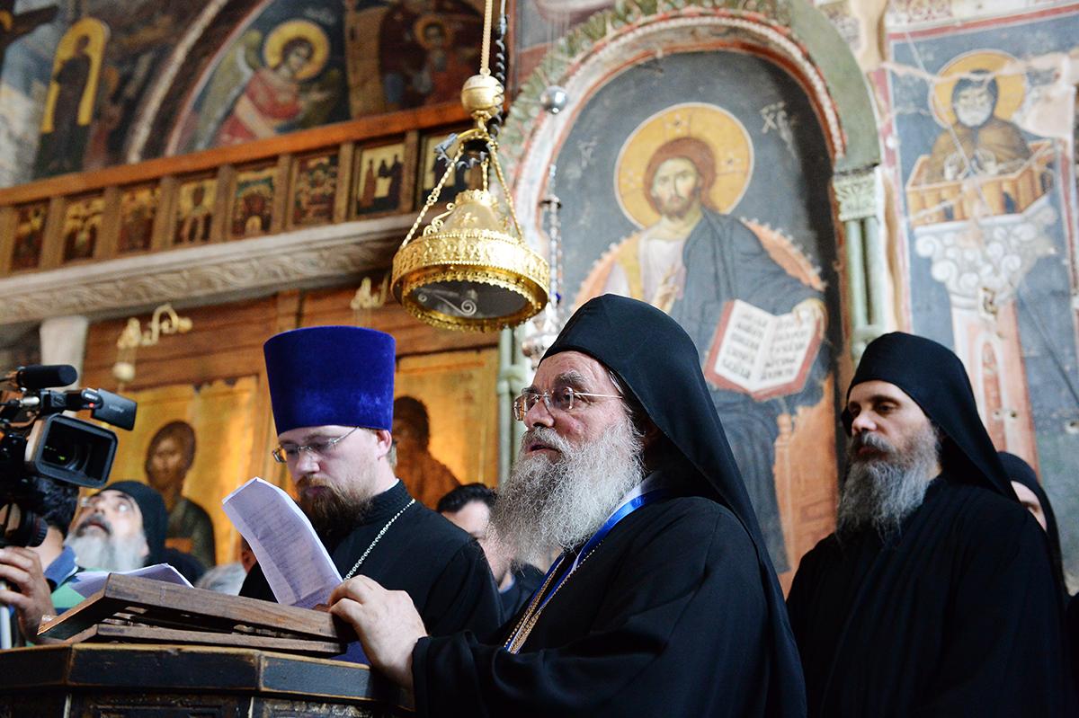 Визит Святейшего Патриарха Кирилла в Грецию. Прибытие на Афон. Молебен в соборе Протата. Встреча с членами Священного Кинота