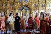 Предстоятель Руської Церкви звершив Літургію в Покровському храмі Руського на Афоні Пантелеїмонового монастиря