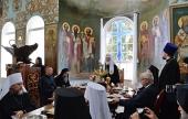 В завершение паломнического визита Святейшего Патриарха Кирилла на Афон в Пантелеимоновом монастыре состоялась братская трапеза