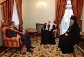 Состоялась беседа Святейшего Патриарха Кирилла с главой Республики Марий Эл Л.И. Маркеловым и архиепископом Йошкар-Олинским Иоанном