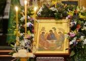 Патриаршее служение в канун праздника Троицы в Храме Христа Спасителя г. Москвы