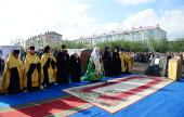 Патриарший визит в Воркутинскую епархию. Освящение закладного камня в основание Спасского кафедрального собора г. Воркуты