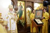 Предстоятель Русской Церкви совершил великое освящение воссозданного Иоанно-Предтеченского храма у Новодевичьего монастыря столицы