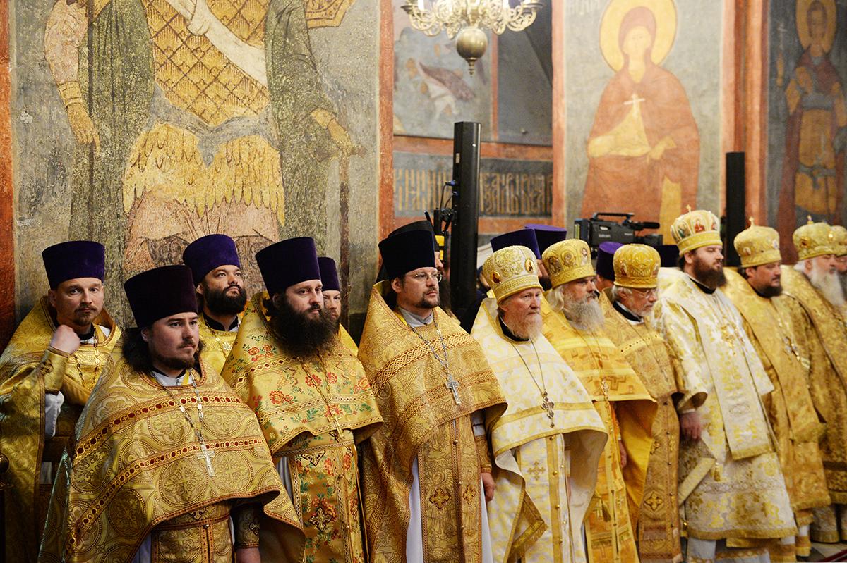 Патриаршее служение в праздник Рождества Предтечи и Крестителя Господня Иоанна в Новодевичьем монастыре столицы