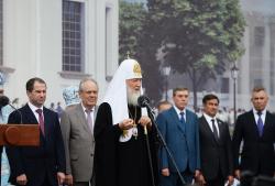 Слово Святейшего Патриарха Кирилла после закладки собора на месте обретения Казанской иконы Божией Матери