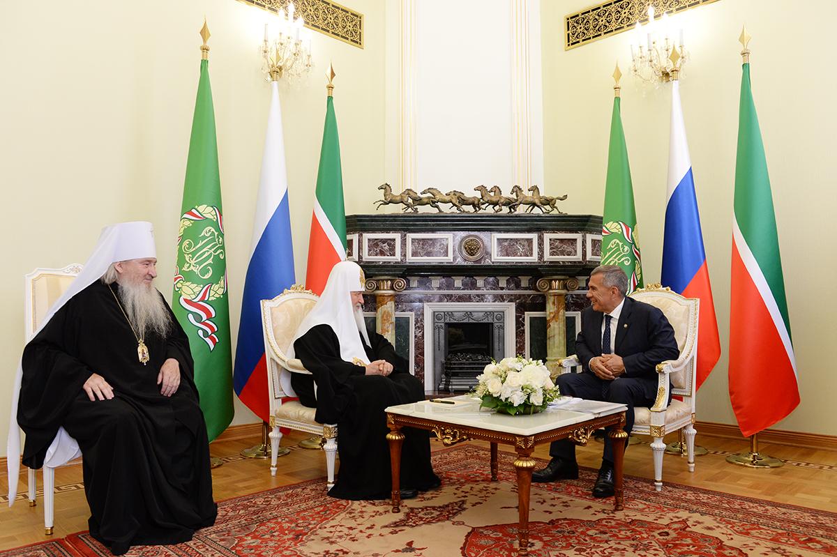 Патриарший визит в Татарстанскую митрополию. Встреча с президентом Республики Татарстан