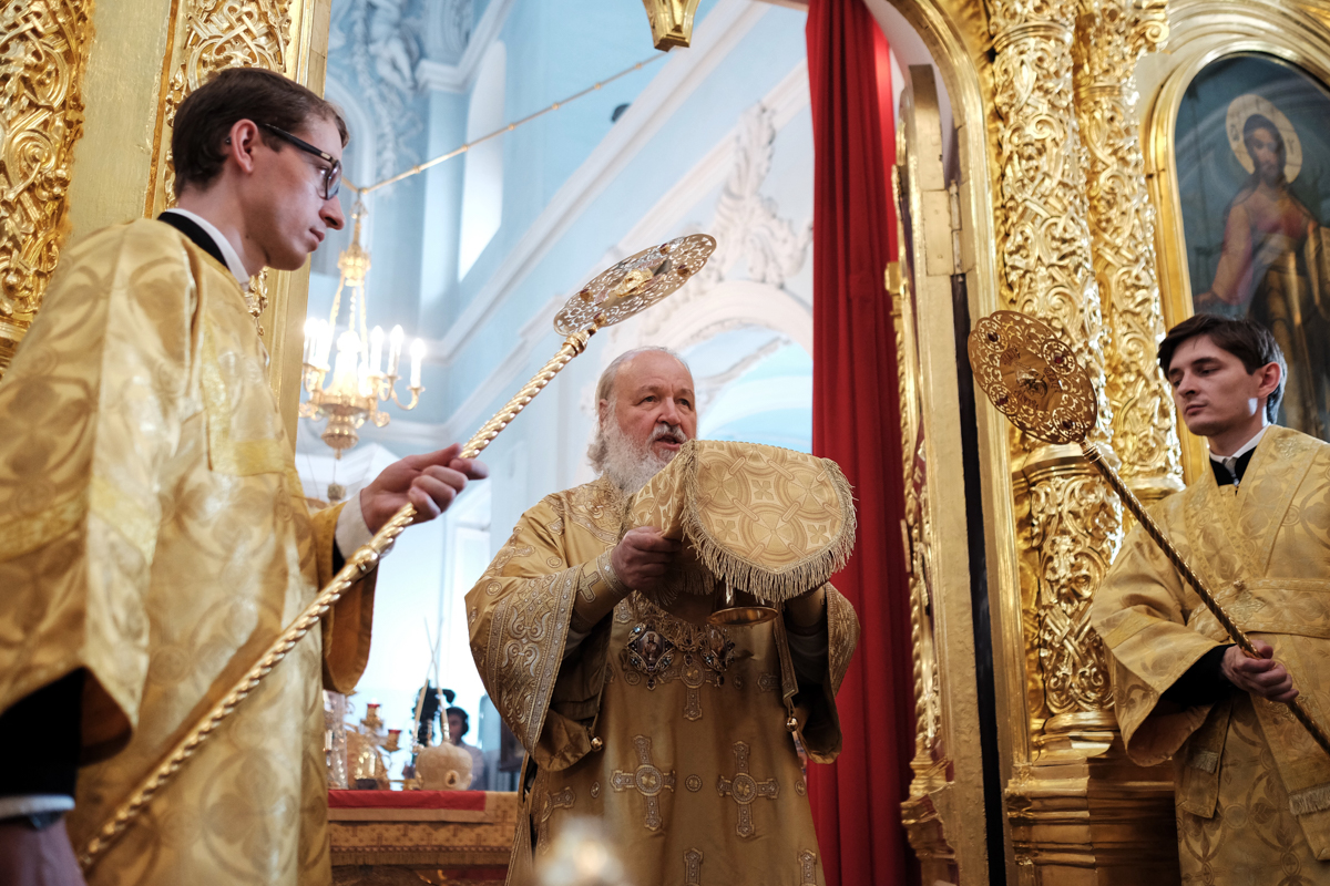Патриаршее служение в праздник Собора Архангела Гавриила на Антиохийском подворье в Москве