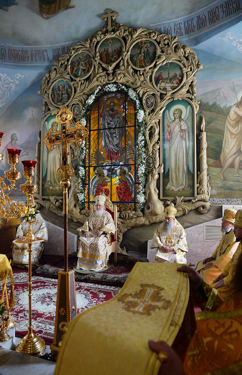 Патриарший визит в Орловскую митрополию. Божественная литургия в Богоявленском соборе. Освящение памятника прп. Серафиму Саровскому