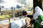 Святейший Патриарх Кирилл освятил закладной камень в основание Успенского собора Саровской пустыни