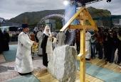 Предстоятель Русской Церкви совершил освящение закладного камня в основание храма на Кировском руднике