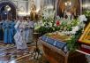 Патриаршее служение в канун праздника Успения Божией Матери в Храме Христа Спасителя в Москве