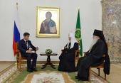 Святейший Патриарх Кирилл встретился с губернатором Сахалинской области О.Н. Кожемяко и архиепископом Южно-Сахалинским и Курильским Тихоном