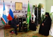 Состоялась встреча Святейшего Патриарха Кирилла с главой Республики Саха (Якутия) Е.А. Борисовым и архиепископом Якутским и Ленским Романом