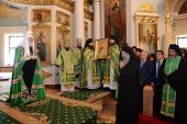 В день памяти преподобного Силуана Афонского Предстоятель Русской Церкви совершил Литургию в Даниловом ставропигиальном монастыре