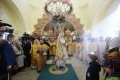 У Неділю перед Воздвиженням Святіший Патріарх Кирил звершив Літургію із сурдоперекладом в московському храмі Всіх святих, що в землі Російській просіяли, в Новокосіно