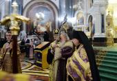 Патриаршее служение в канун праздника Воздвижения Креста Господня в Храме Христа Спасителя в Москве