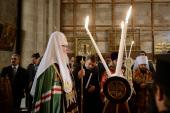 Святейший Патриарх Кирилл и Блаженнейший Патриарх Иерусалимский Феофил посетили Храм Воскресения Христова в Иерусалиме