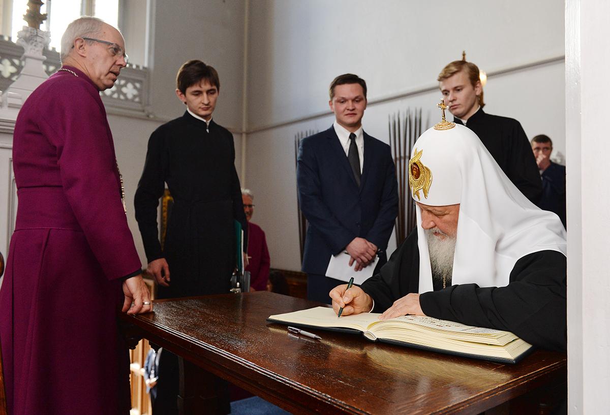 Визит Святейшего Патриарха Кирилла в Великобританию. Встреча с архиепископом Кентерберийским Джастином Уэлби