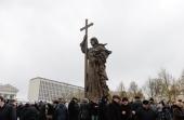 Святейший Патриарх Кирилл освятил памятник святому равноапостольному князю Владимиру на Боровицкой площади в Москве