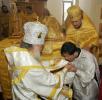 Священническая хиротония в новоосвященном храме Живоначальной Троицы в Пхеньяне, Северная Корея. 11 августа 2006 г.