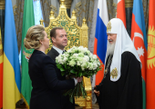 Председатель Правительства Российской Федерации Д.А. Медведев поздравил Святейшего Патриарха Кирилла с 70-летием со дня рождения