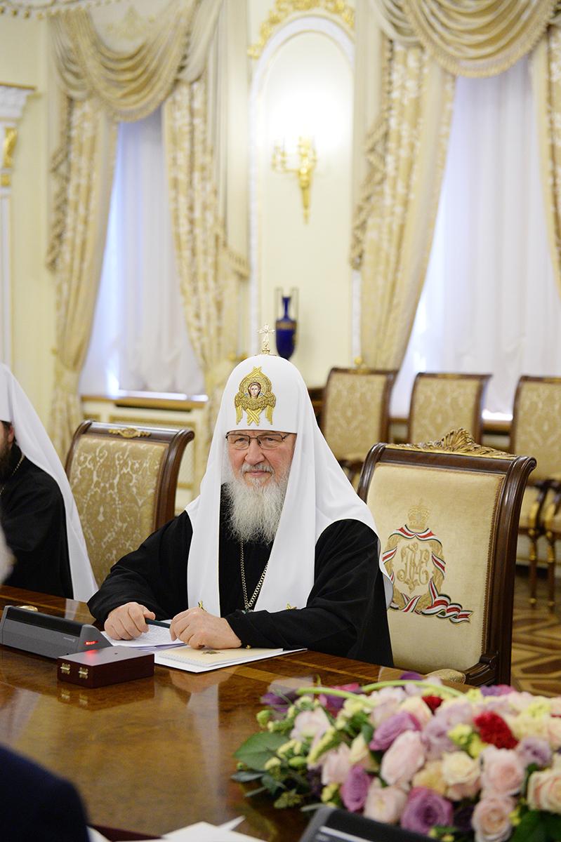 Встреча Святейшего Патриарха Кирилла с председателем Управления мусульман Кавказа шейх-уль-исламом Аллахшукюром Паша-заде