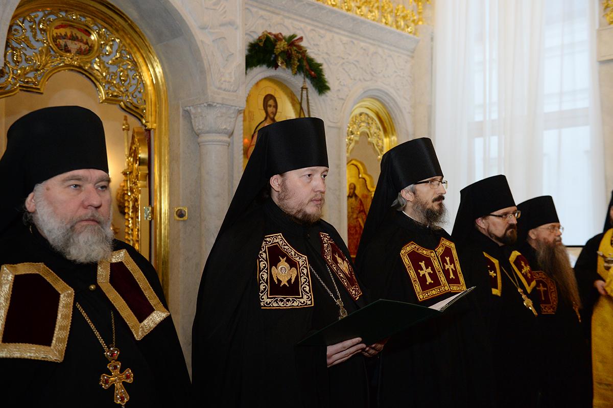 Наречение во епископы архимандрита Викентия (Брылеева), архимандрита Сергия (Телиха) и архимандрита Алексия (Елисеева)