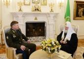 Святейший Патриарх Кирилл встретился с командующим ВДВ России генерал-полковником А.Н. Сердюковым