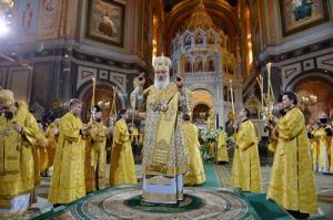 В праздник Рождества Христова Святейший Патриарх Кирилл совершил Божественную литургию в Храме Христа Спасителя в Москве