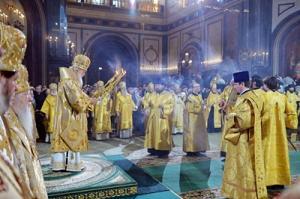 В праздник Рождества Христова Предстоятель Русской Церкви совершил великую вечерню в Храме Христа Спасителя в Москве