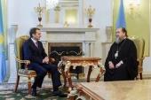 В Астане состоялась встреча главы Казахстанского митрополичьего округа с директором Службы внешней разведки России С.Е. Нарышкиным