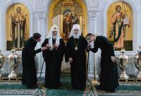 Поздравление Предстоятеля Русской Православной Церкви Святейшему Патриарху Сербскому Иринею с семилетием Патриаршей интронизации