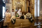 Святейший Патриарх Кирилл совершил панихиду на месте погребения Патриарха Сергия (Страгородского) в Богоявленском кафедральном соборе в Елохове