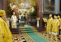 В восьмую годовщину интронизации Святейшего Патриарха Кирилла в Храме Христа Спасителя совершена Божественная литургия