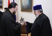 Управляющий приходами Русской Православной Церкви в Армении епископ Владикавказский Леонид встретился с Католикосом всех армян Гарегином II