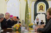 Святейший Патриарх Кирилл встретился с участниками первого заседания рабочей группы представителей Русской Православной Церкви и Римско-Католической Церкви в Италии в рамках Форума-диалога по линии гражданских обществ двух стран