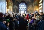 В день памяти святителя Алексия Московского Предстоятель Русской Церкви совершил Литургию в Богоявленском кафедральном соборе г. Москвы