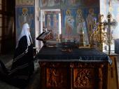 Во вторник первой седмицы Великого поста Святейший Патриарх Кирилл молился за уставным богослужением в Покровском ставропигиальном монастыре в Хотькове