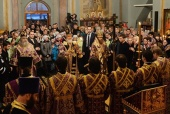 В канун Недели Торжества Православия Святейший Патриарх Кирилл совершил всенощное бдение в Спасском соборе Заиконоспасского ставропигиального монастыря