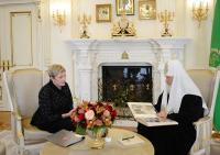 Святейший Патриарх Кирилл встретился с губернатором Мурманской области М.В. Ковтун