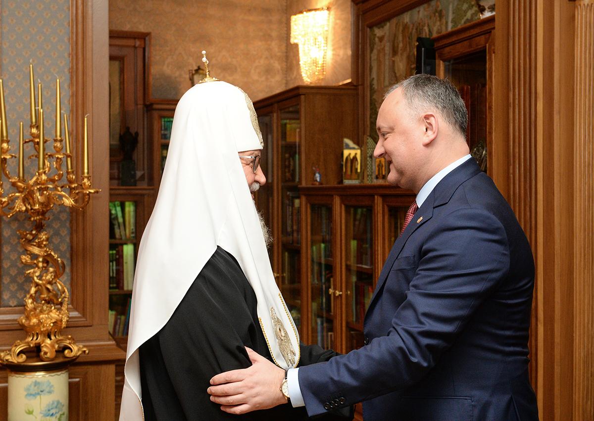 Встреча Святейшего Патриарха Кирилла с Президентом Республики Молдова Игорем Додоном