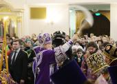 În Duminica Închinării Sfintei Cruci Întâistătătorul Bisericii Ortodoxe Ruse a sfințit biserica cu hramul în cinstea Sfântului Ierarh Iov, Patriarhul Moscovei, în capitala rusă